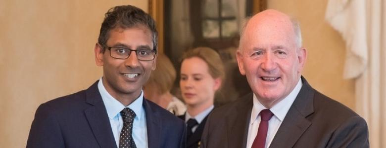 Associate Professor Sarath Ranganathan receives  inaugural Cystic Fibrosis Australia Governor-General's Patron's Awards at Admiralty House in Sydney